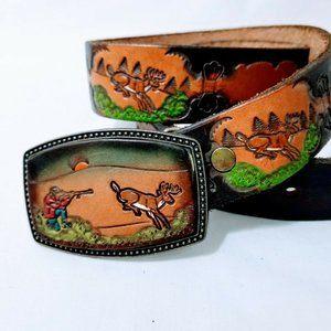 Tooled Leather Belt & Buckle Deer Hunter Hunting